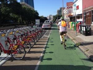 Austin B-Cycle Protected Bike Lane