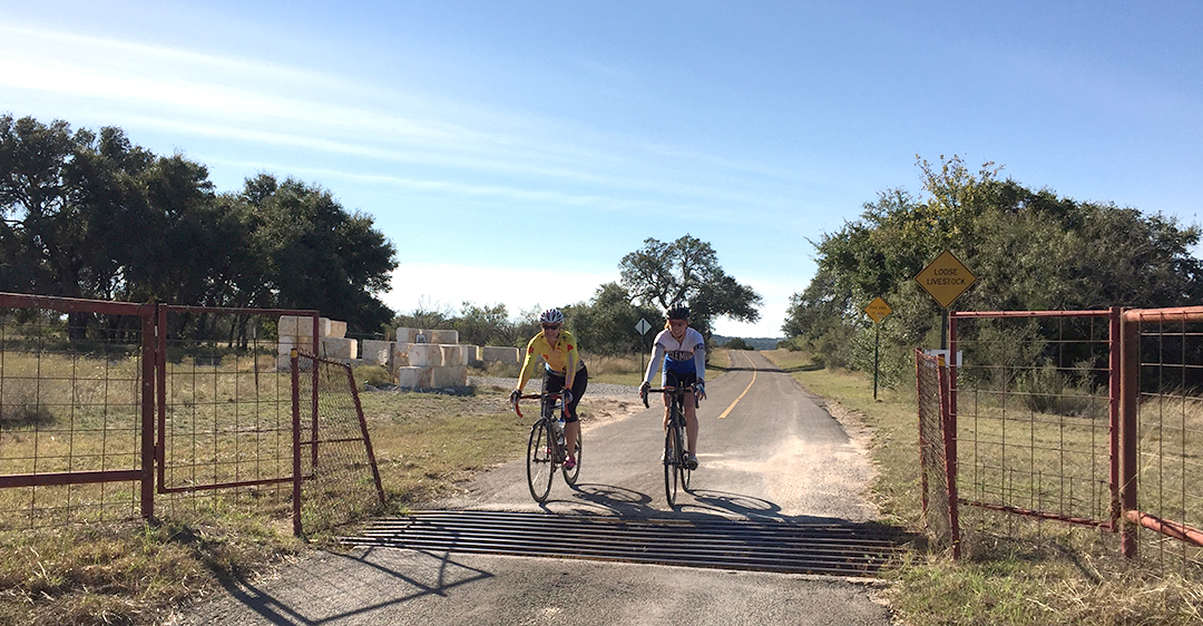 Monica and Wendy Crossing One of Many Cattle Guards ~ Texas Hill Country Ride